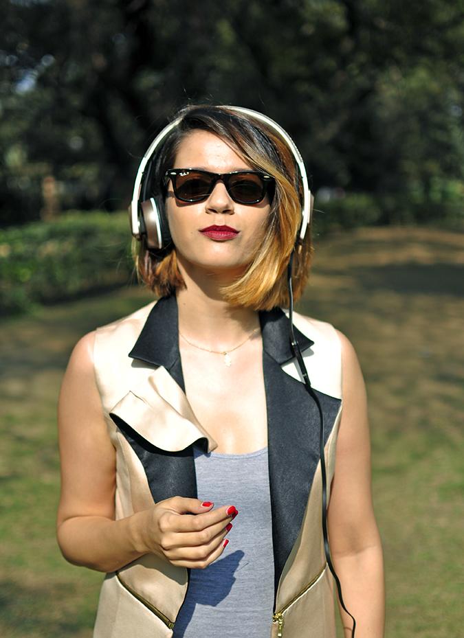Sennheiser | Akanksha Redhu | wearing headphones half front