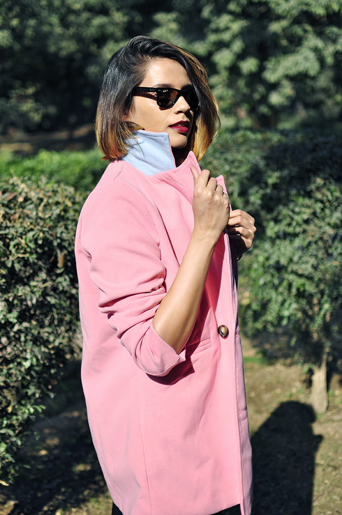 Fresh Pink | #ootd | Akanksha Redhu | half side holding collar