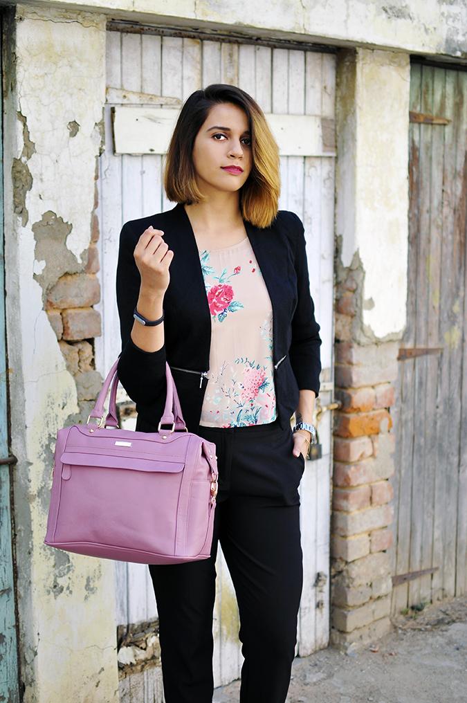 Formal Florals | Vero Moda | Akanksha Redhu | 34th front bag in arm