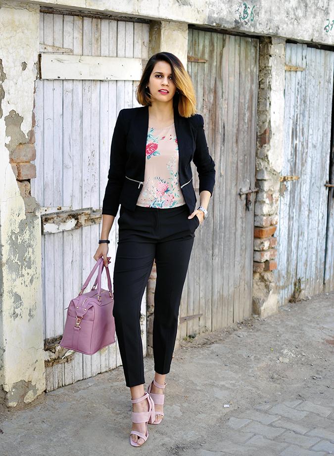Formal Florals | Vero Moda | Akanksha Redhu | full front bag one hand in pocket