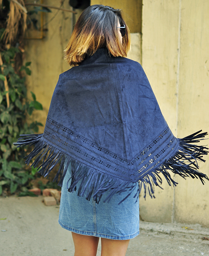 Suede | Only India | Akanksha Redhu | half back sway cape