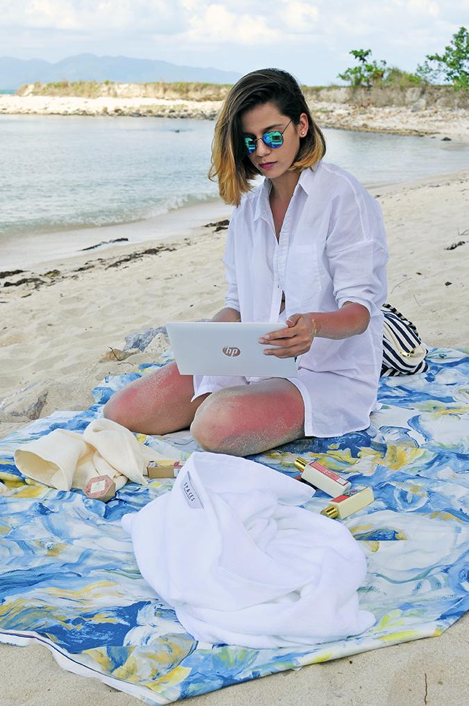 Koh Samui   Akanksha Redhu   sitting with laptop in lap