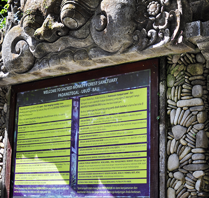 Sacred Monkey Forest Sanctuary - Ubud | Akanksha Redhu | entrance board wide