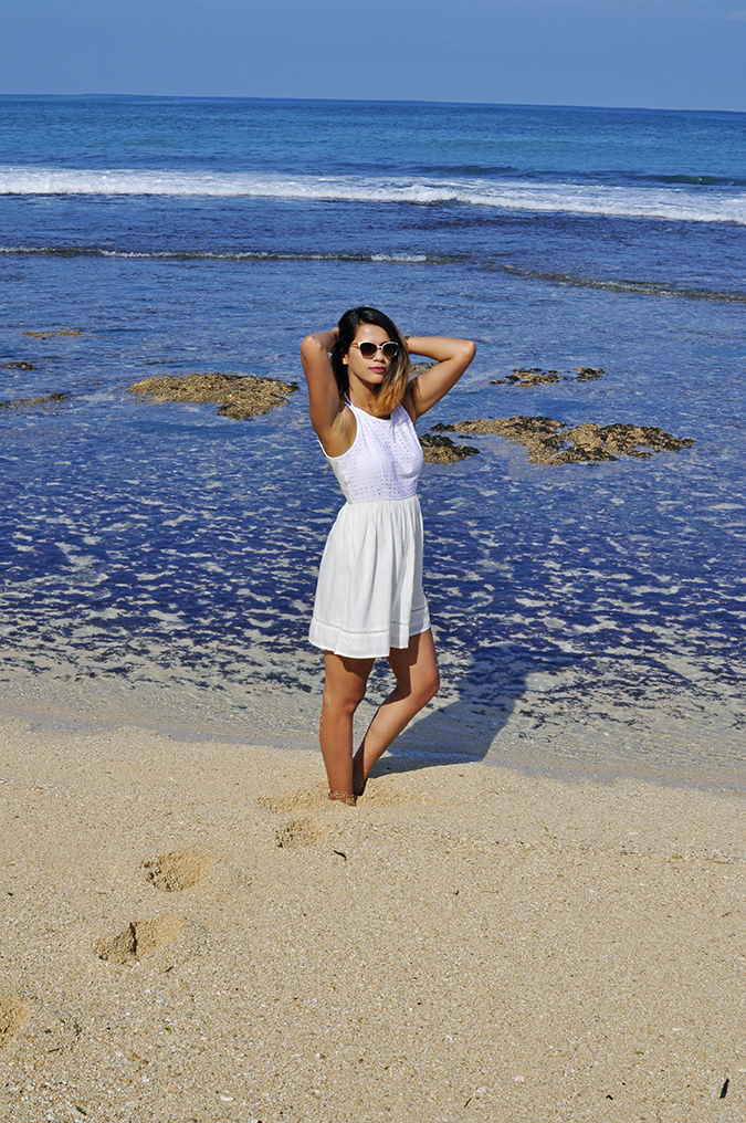 Nikkos Beach | Bali | Akanksha Redhu | full frnt both arms up almost in water