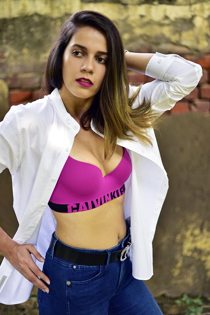 Calvin Klein | Akanksha Redhu | half side bra arm up