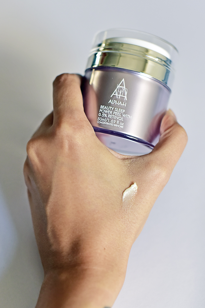 Alpha-H Beauty Sleep Power Peel | Akanksha Redhu | holding in hand with cream long