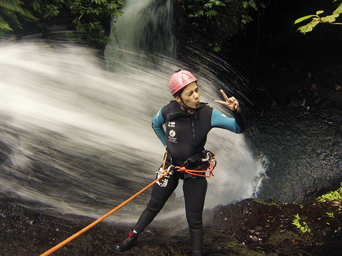 Canyoning in Bali | Akanksha Redhu | me wink v sign waterfall behind