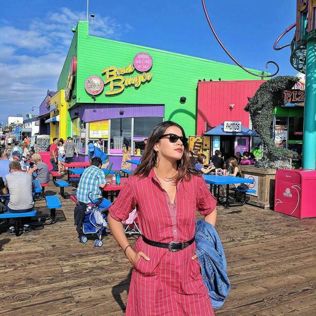 RedhuxIndieDesign  Wearing kharakapas at the Santa Monica Pier inhellip