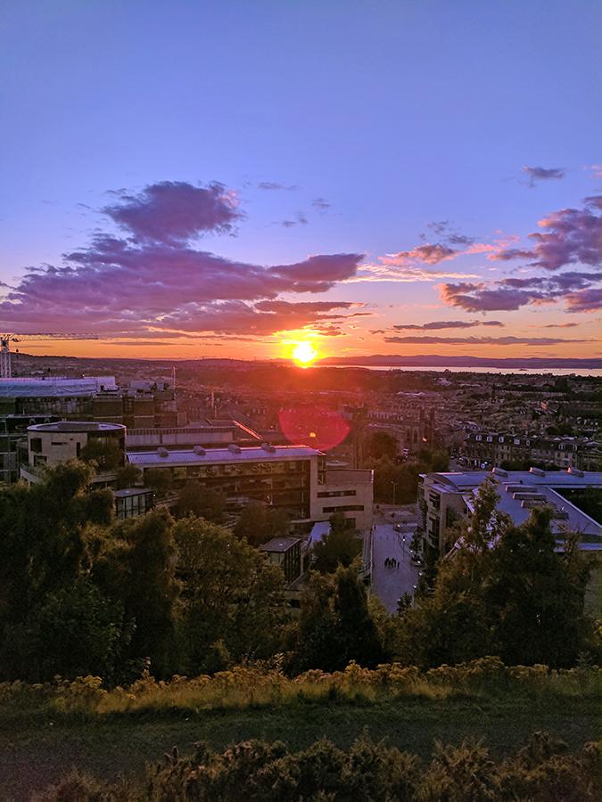 Edinburgh | Akanksha Redhu | sunset city lens flare phone