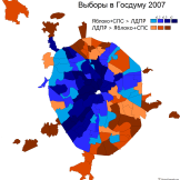 Elections 2017 (blue = libs did better; orange = nationalist LDPR did better