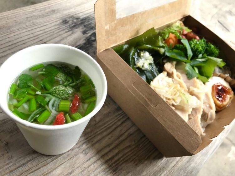 蒸し鶏と野菜のお弁当。