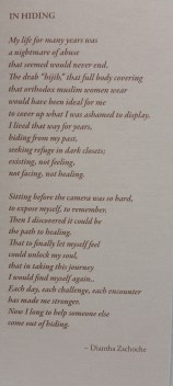 Domestic Violence a Personal Journey. A photo of a photo at Orange Coast College Gallery, on April 15, 2015. Costa Mesa Cali. Photo/Marivel Guzman