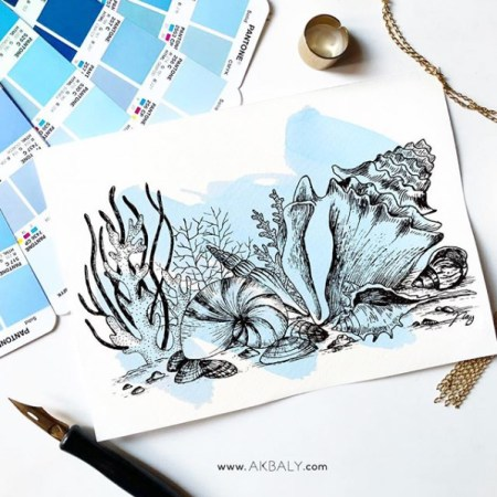 "Illustration ""Under The Sea"" by Akbaly Prints Postcards Ink Watercolor"