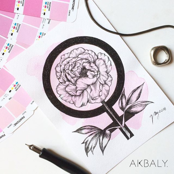 "Floral Illustration for ""Womens Day"" by Akbaly Prints Postcards Ink Watercolor"
