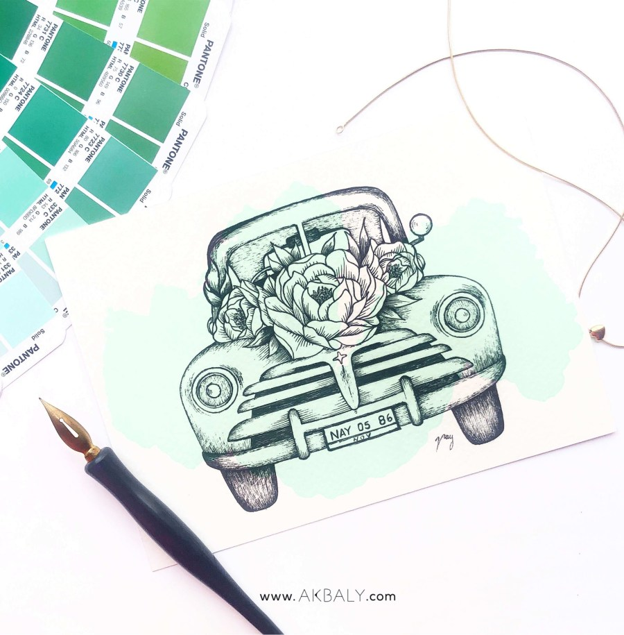 "Illustration ""Floral Vintage Car II"" by Akbaly Prints Postcards Ink Watercolor"