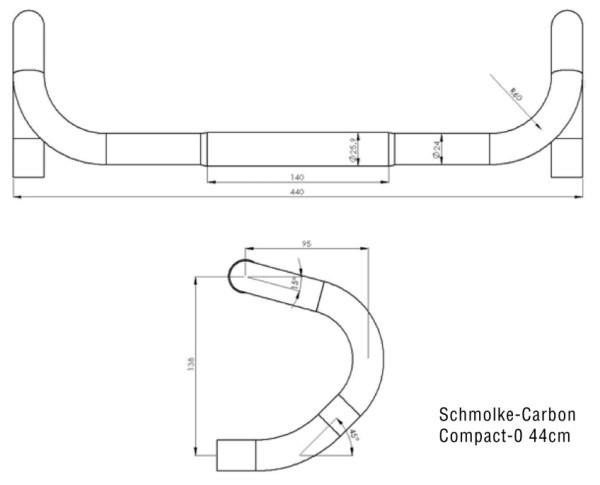 Kierownica szosowa Schmolke-Carbon Compact 25,9 TLO