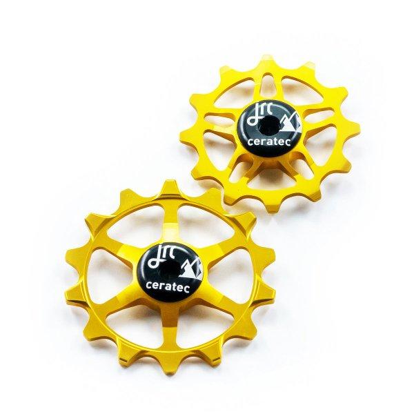 Kółka ceramiczne przerzutki JRC Components 14/12T do SRAM Eagle - złote /gold/