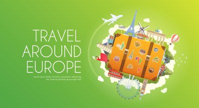 Travel to Europe. Road trip. Tourism. Suitcase with landmarks. Tourism. Web advertising banner. Wanderlust. Landmarks in Europe. Cruise tour. Travelling illustration. Modern flat design. Travel vector