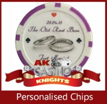 A K Casino Knights Presonalised chips for weddings