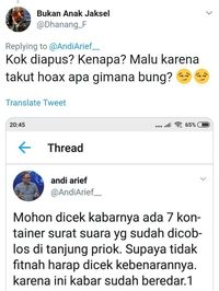 Screenshoot Cuitan Andi Arief yang sudah dihapus