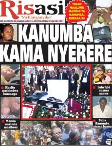 La une d'un Journal paru après les obsèques de Steven Kanumba. Le Journal compare ces obsèques a celles du Héros National Tanzanien Julius Nyerere.