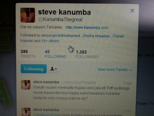 Les derniers tweets de Steven Kanumba. Il parlait d'un artiste incarcéré. Pour lui, il n'était pas normal que les autres artistes tanzaniens ne fassent rien pour cet artiste.