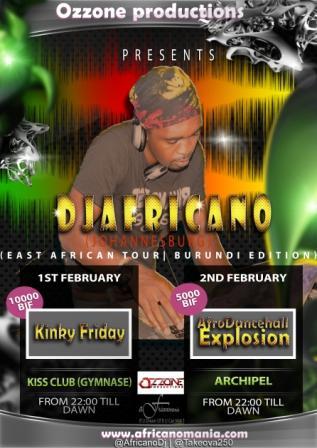 DJ Africano , l'affiche de ses shows à Buja (www.akeza.net)