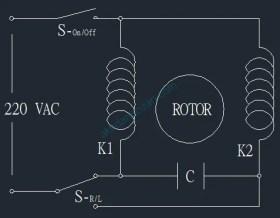 Rangkaian Pembalik Putaran Motor Listrik 1 Fasa