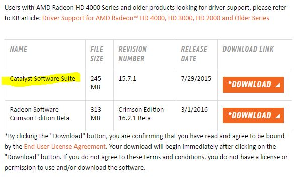 Radeon Driver download selection