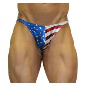 Akieistro® Men's Professional Bodybuilding Posing Suit – Metallic USA Flag Hologram – Front View