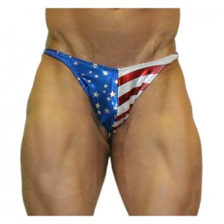 Akieistro® Men's Professional Bodybuilding Posing Suit - Metallic USA Flag Hologram - Front View