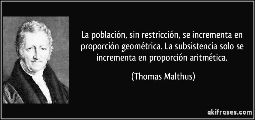 Resultado de imagen de thomas robert malthus frases