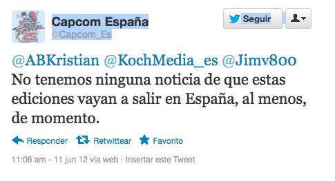Capcom no tiene noticias sobre el lanzamiento de esta edición en España