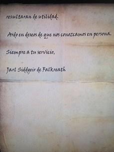 Carta del Jarl de Falklreath, en Skyrim (II)