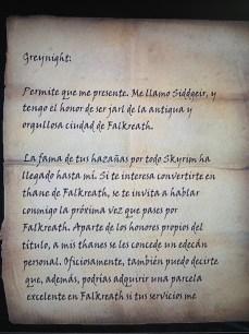 Carta del Jarl de Falklreath, en Skyrim
