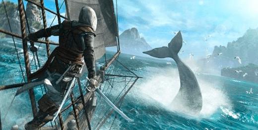 Una ballena paseando por los mares de Black Flag