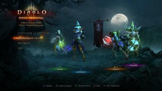 Diablo 3 menu personajes