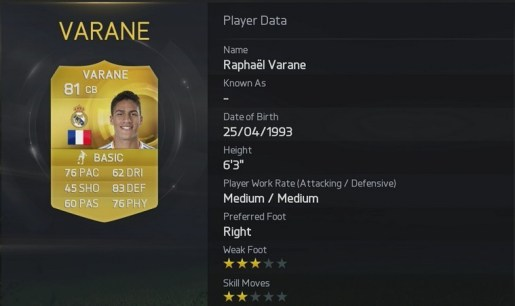 Fifa 15 Varane