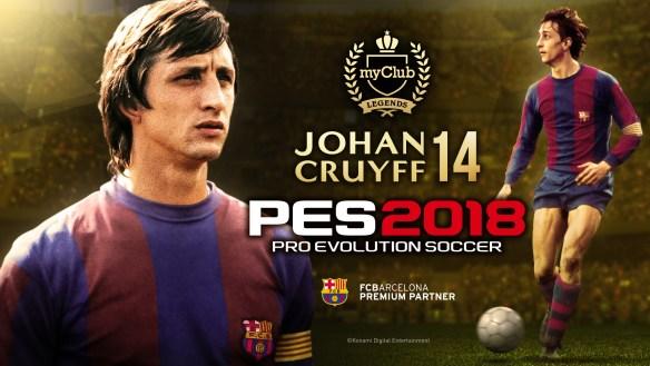 La leyenda del FC Barcelona Johan Cruyff está ya disponible para tu equipo de My Club en PES 2018