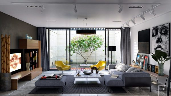 living-room-with-retro-yellow-chairs