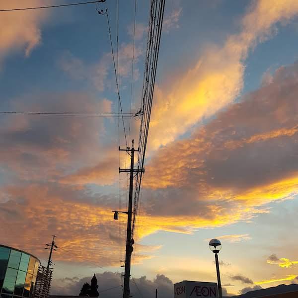 長野県飯田市の夕暮れ時。夏2018