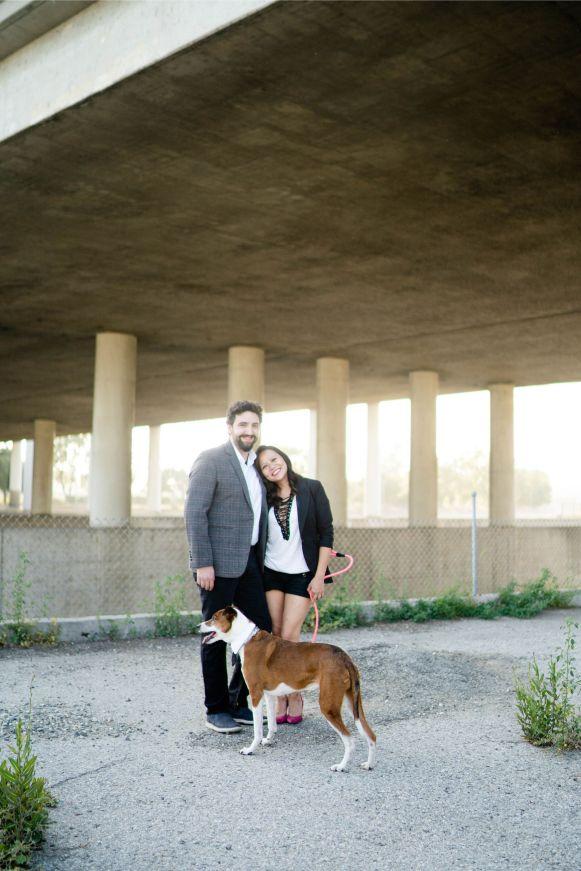 DTLA engagement photo with dog
