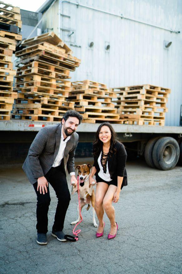 cute dog engagement photo