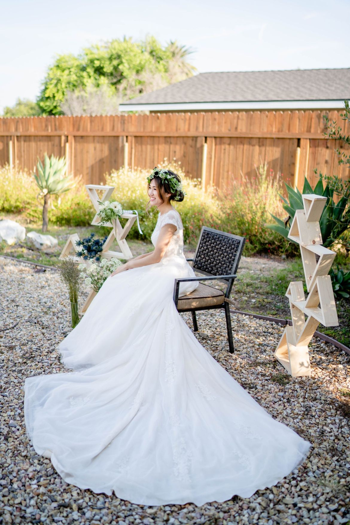 garden wedding bride