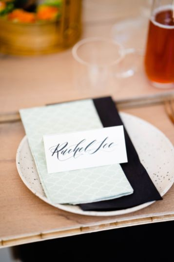 table setting with calligraphy