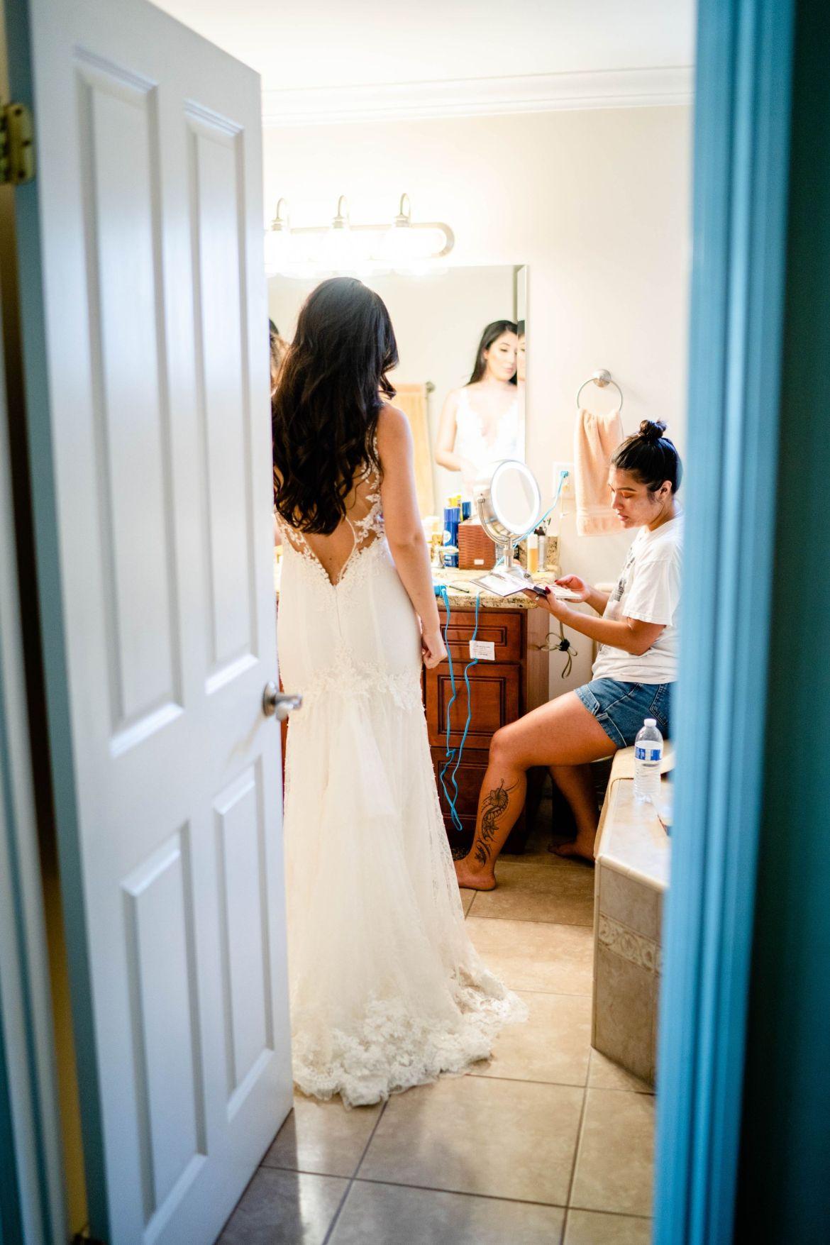 getting ready newport beach wedding
