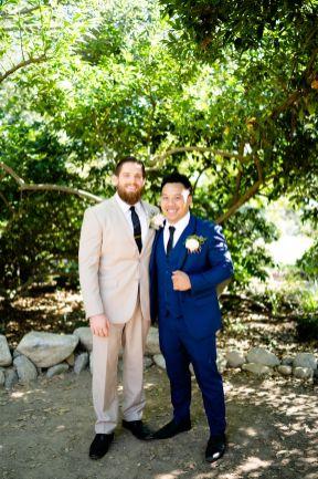 tan suits bridal party