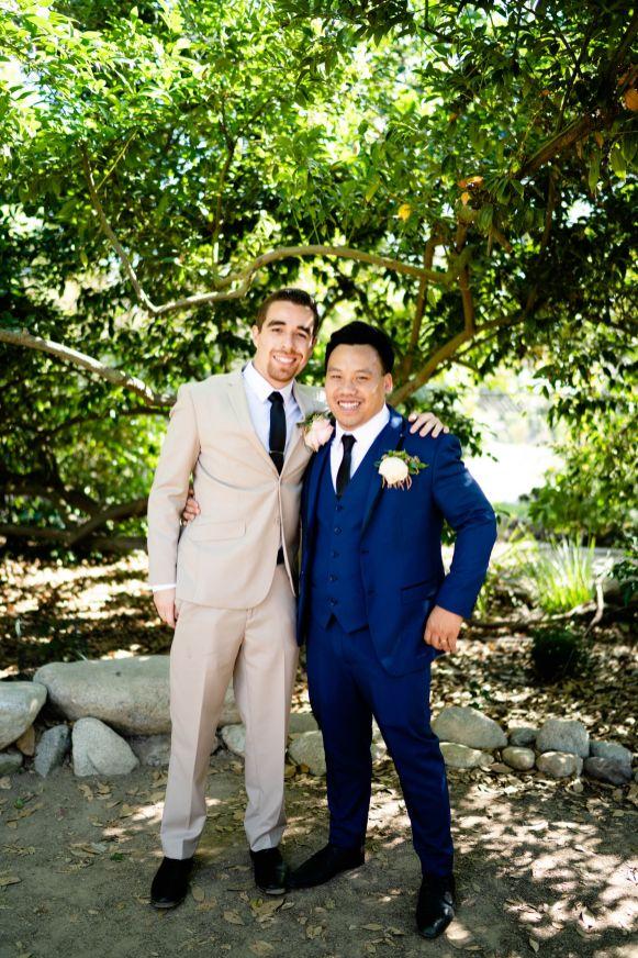 wedding idea tan suits