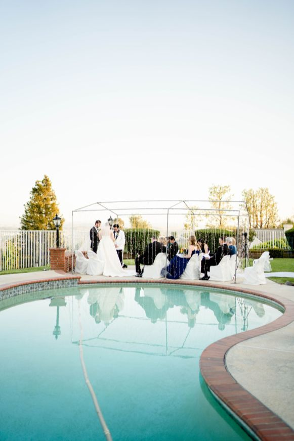 backyard at home wedding with pool