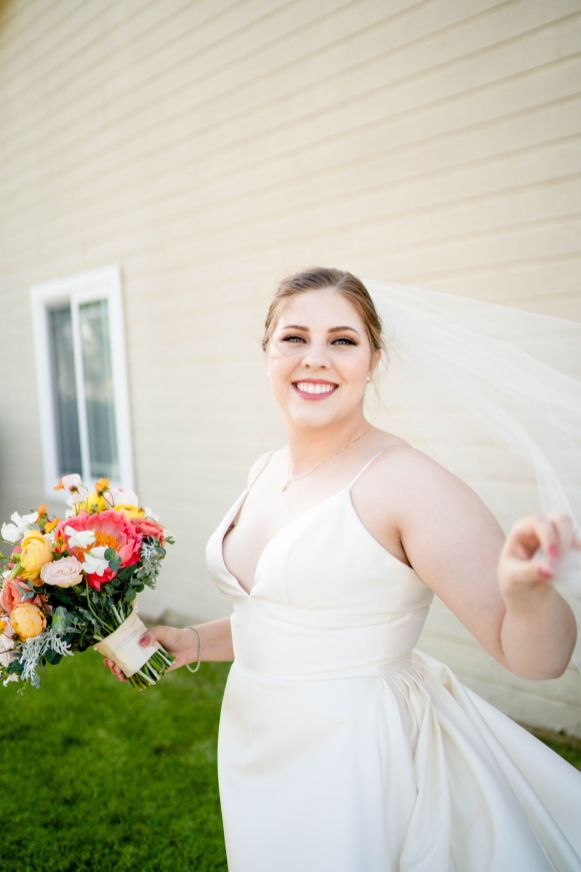 backyard wedding bridal portraits